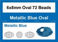 Metallic Blue Crystal 6x8mm Faceted Rice Beads 72 pcs.