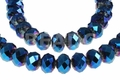 Metallic Blue Crystal 8mm Faceted Rondelle Beads 68-72 pcs.