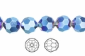 Metallic Blue Crystal 8mm Faceted Round Beads 50 pcs.