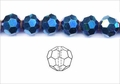 Metallic Blue Crystal 8mm Faceted Round Beads 72 pcs.