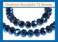 Metallic Blue Crystal 8x10mm Faceted Rondelle Beads 72 pcs.