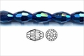 Metallic Blue Crystal 8x12mm Faceted Rice Beads 72 pcs.