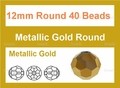 Metallic Gold Crystal 12mm Faceted Round Beads 40 pcs.