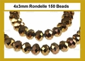 Metallic Gold Crystal 3x4mm Faceted Rondelle Beads 150 pcs.