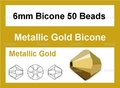 Metallic Gold Crystal 6mm Faceted Bicone Beads 50 pcs.