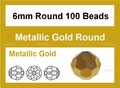 Metallic Gold Crystal 6mm Faceted Round Beads 100 pcs.