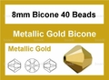 Metallic Gold Crystal 8mm Faceted Bicone Beads 40 pcs.