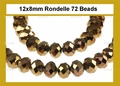 Metallic Gold Crystal 8x12mm Faceted Rondelle Beads 72 pcs.