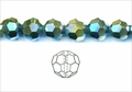 Metallic Green Crystal 10mm Faceted Round Beads 72 pcs.
