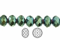 Metallic Green Crystal 3x4mm Faceted Rondelle Beads 100 pcs.