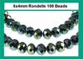 Metallic Green Crystal 4x6mm Faceted Rondelle Beads 100 pcs.