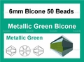 Metallic Green Crystal 6mm Faceted Bicone Beads 50 pcs.