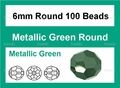 Metallic Green Crystal 6mm Faceted Round Beads 100 pcs.