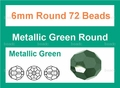 Metallic Green Crystal 6mm Faceted Round Beads 72 pcs.
