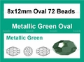 Metallic Green Crystal 8x12mm Faceted Rice Beads 72 pcs.
