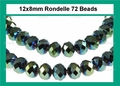 Metallic Green Crystal 8x12mm Faceted Rondelle Beads 72 pcs.