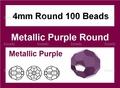 Metallic Purple Crystal 4mm Faceted Round Beads 100 pcs.
