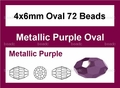 Metallic Purple Crystal 4x6mm Faceted Rice Beads 72 pcs.