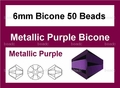 Metallic Purple Crystal 6mm Faceted Bicone Beads 50 pcs.