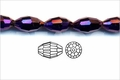 Metallic Purple Crystal 6x8mm Faceted Rice Beads 72 pcs.