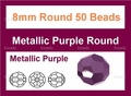Metallic Purple Crystal 8mm Faceted Round Beads 50 pcs.