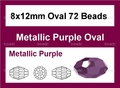 Metallic Purple Crystal 8x12mm Faceted Rice Beads 72 pcs.