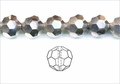 Metallic Silver Crystal 10mm Faceted Round Beads 72 pcs.