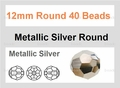 Metallic Silver Crystal 12mm Faceted Round Beads 40 pcs.