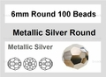 Metallic Silver Crystal 6mm Faceted Round Beads 100 pcs.