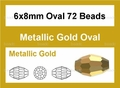 Metallix Gold Crystal 6x8mm Faceted Rice Beads 72 pcs.
