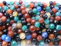 Mix Agate 8mm Faceted Round Beads 15.5""