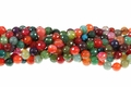 Mix Color Tourmaline Agate 8mm Faceted Round Beads 15.5""