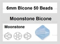 Moonstone Opalite 6mm Faceted Bicone Beads 50 pcs.