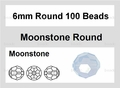Moonstone Opalite 6mm Faceted Round 100 Beads