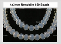 Moonstone Opalite Glass 3x4mm Faceted Rondelle Beads 150 pcs.