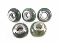Moss Agate 8x14mm , 5mm Hole Pandora Beads with Silver Plated 1 pc.