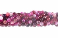 Pink Banded Agate 8mm Faceted Round Beads 16""