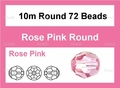 Pink Crystal 10mm Faceted Round Beads 72 pcs.