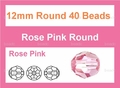 Pink Crystal 12mm Faceted Round Beads 40 pcs.