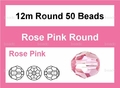 Pink Crystal 12mm Faceted Round Beads 50 pcs.