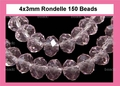 Pink Crystal 3x4mm Faceted Rondelle Beads 150 pcs.
