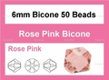 Pink Crystal 6mm Faceted Bicone Beads 50 pcs.