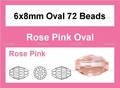 Pink Crystal 6x8mm Faceted Rice Beads 72 pcs.