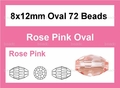 Pink Crystal 8x12mm Faceted Rice Beads 72 pcs.