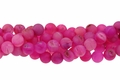 Pink Frosted Druzy Agate 8mm Round Beads 15.5""