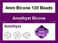 Purple Amethyst Crystal 4mm Faceted Bicone Beads 120 pcs.