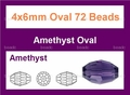 "Purple Amethyst Crystal 4x6mm AB Faceted Rice 72 Beads (approx.17"")"