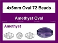 Purple Amethyst Crystal 4x6mm Faceted Rice Beads 72 pcs.