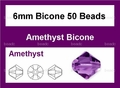 Purple Amethyst Crystal 6mm Faceted Bicone Beads 50 pcs.