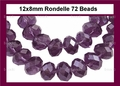 Purple Amethyst Crystal 8x12mm Faceted Rondelle Beads 72 pcs.